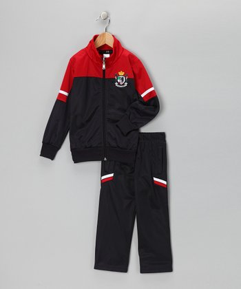 Navy & Red 'Team' Track Jacket & Pants - Toddler