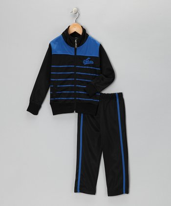 Black & Royal Stripe Track Jacket & Pants - Toddler
