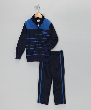Navy & Royal Stripe Track Jacket & Pants - Toddler