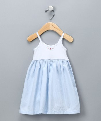White & Blue Stripe Dress - Infant & Toddler