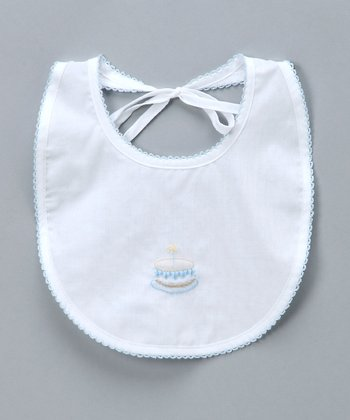 White & Blue Birthday Bib