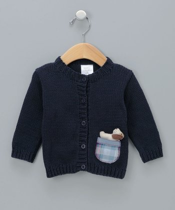 Navy Peek-a-Pup Knit Cardigan - Infant