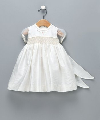 Ivory Smocked Silk Dress - Infant & Toddler