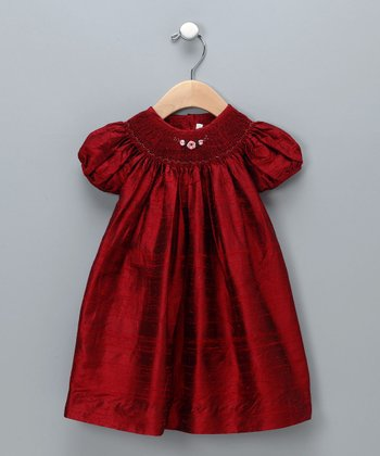 Scarlet Silk Bishop Dress - Infant