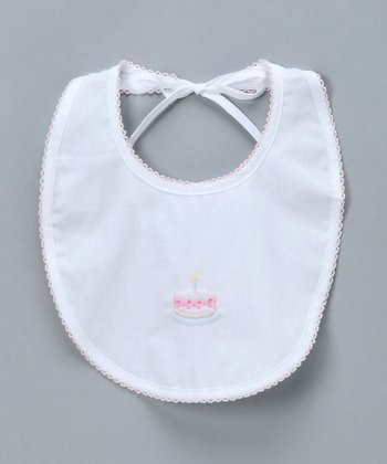 White & Pink Birthday Bib