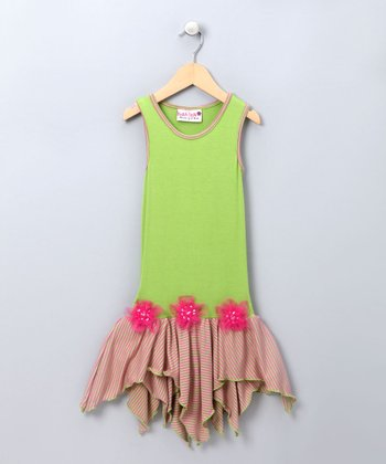 Lime & Cotton Candy Stripes Dress