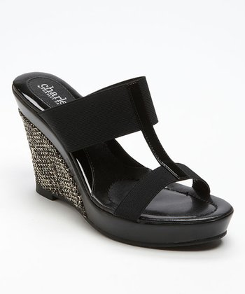 Black Tick Tock T-Strap Slide