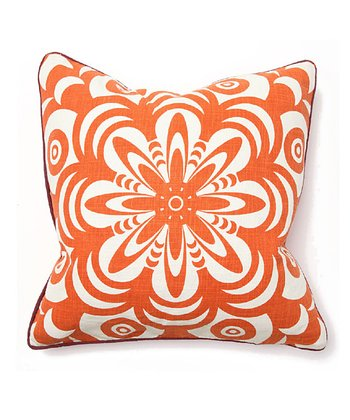 Orange Boho Flower Burst Throw Pillow