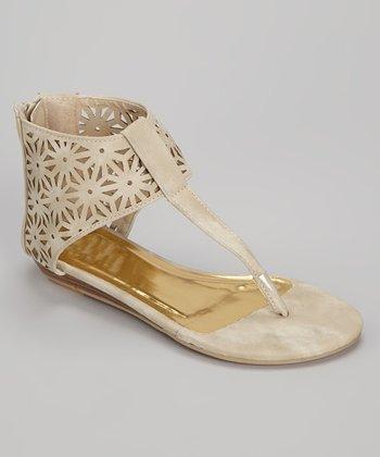 Beige Cutout Gladiator Sandal