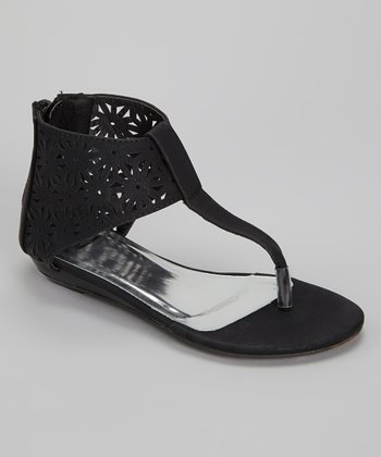 Black Cutout Gladiator Sandal