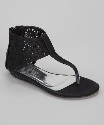 Black Cutout Gladiator Sandal