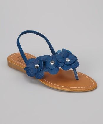 Blue Rhinestone Flower Sandal