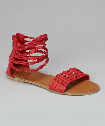 Red Twisted Strap Gladiator Sandal