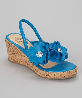 Blue Floral Wedge Sandal