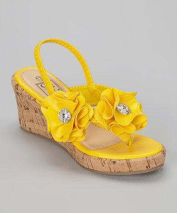 Yellow Floral Wedge Sandal
