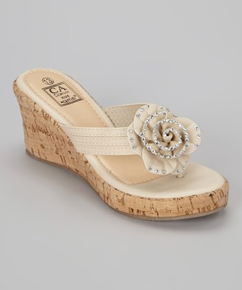 Beige Rose Wedge Sandal