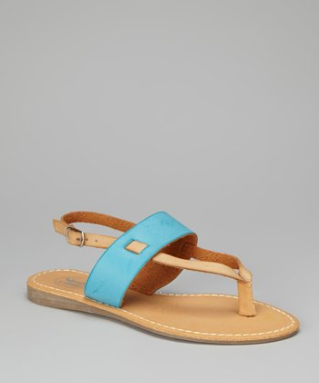 Camel & Light Blue Band Sandal
