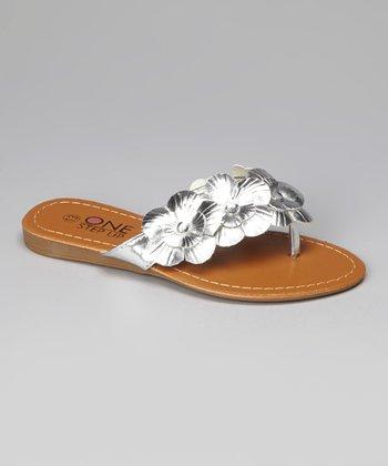 Silver Floral Sandal