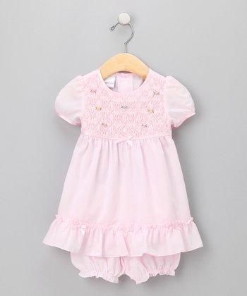 Pink Smocked Dress & Bloomers - Infant