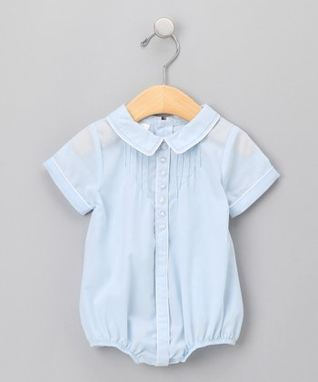 Blue Smocked Collar Bubble Bodysuit - Infant