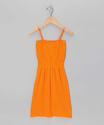 Orange Diamond Dress - Girls