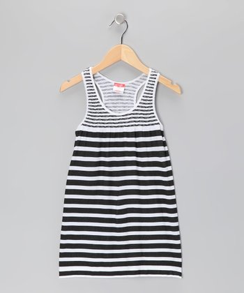 Black Stripe Racerback Dress - Girls