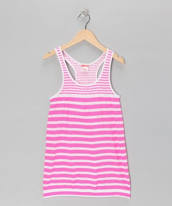 Pink Stripe Racerback Dress - Girls