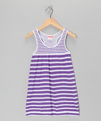 Purple Stripe Racerback Dress - Girls