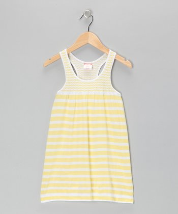 Yellow Stripe Racerback Dress - Girls