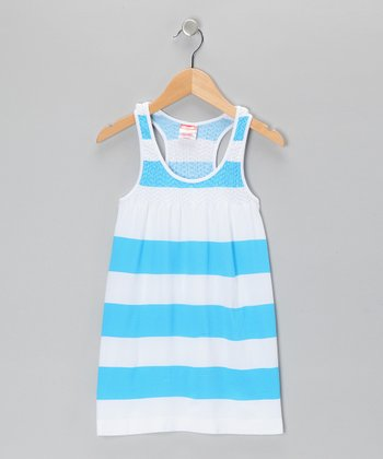 Blue Bold Stripe Dress - Girls