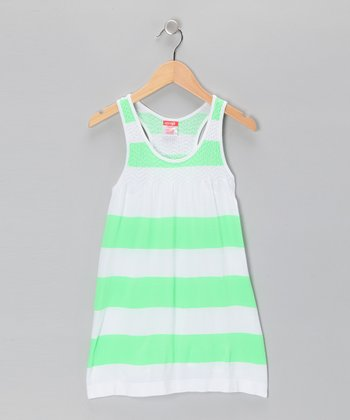 Green Bold Stripe Dress - Girls