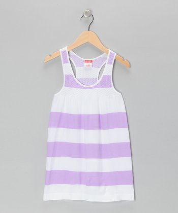 Purple Bold Stripe Dress - Girls