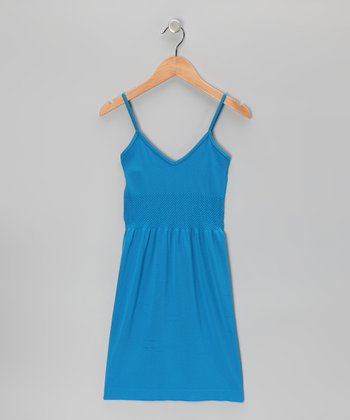 Blue V-Neck Dress - Girls