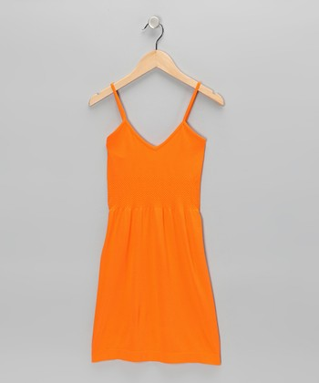 Orange V-Neck Dress - Girls