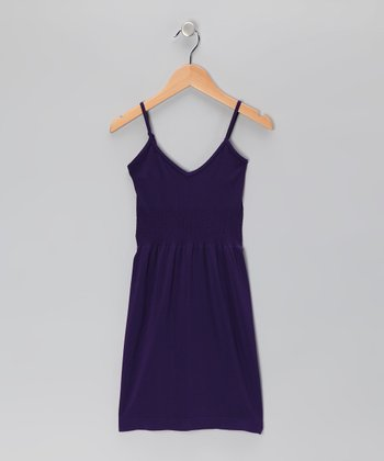 Purple V-Neck Dress - Girls