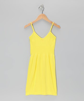 Yellow V-Neck Dress - Girls