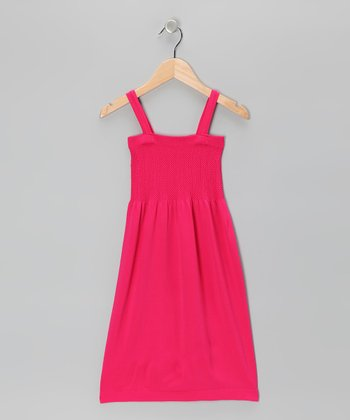 Fuchsia Smocked Dress - Girls