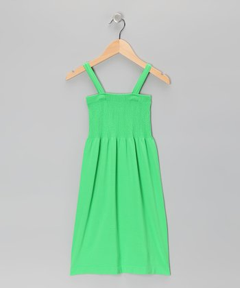 Green Smocked Dress - Girls