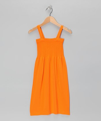 Orange Smocked Dress - Girls