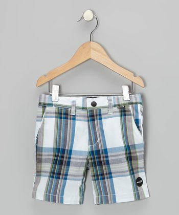White Plaid Shank Shorts - Infant