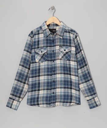 True Navy Plaid Flannel Button-Up - Boys