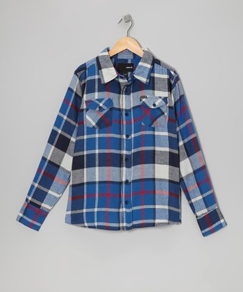 Neptune Blue Flannel Button-Up - Boys