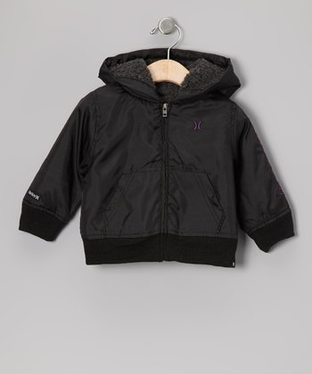 Black Logo Zip-Up Hoodie - Infant
