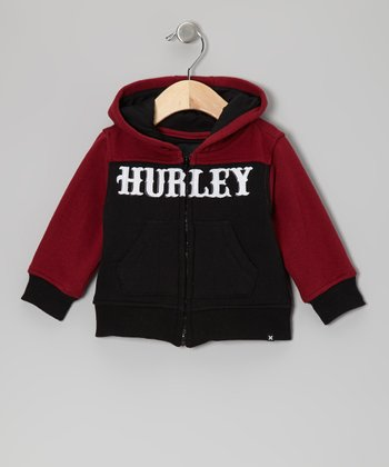 Mod Burgundy Old School Zip-Up Hoodie - Infant