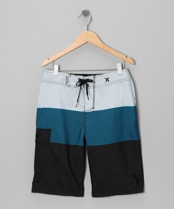 Teal Blockade Boardshorts - Boys