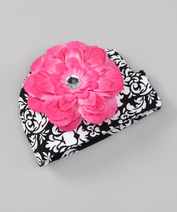 Black & Hot Pink Damask Flower Beanie