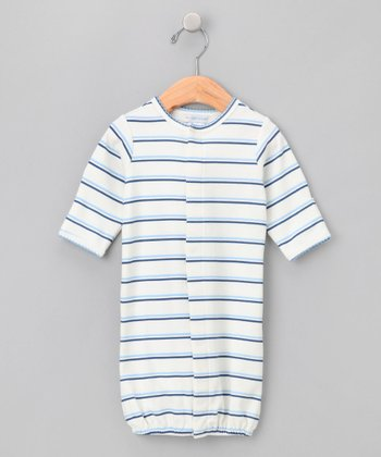 Blue Spinnaker Stripe Convertible Gown - Infant