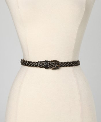 Black Amber Leather Waist Belt