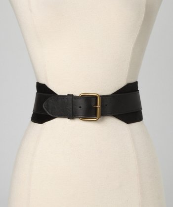 Black Celline Leather Waist Belt