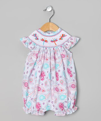 Pink Paisley Dragonfly Bubble Romper - Infant